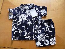 NUI Nalu Niños Camisa Hawaiana & Pantalones cortos 2 pzas Azul Marino/blanco