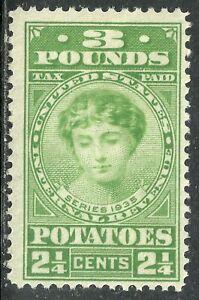U.S. Revenue Potato Tax stamp scott ri3 - 3 pounds/2 1/4 cents issue - mlh - 5x