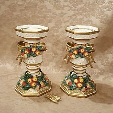 Pair of Fitz and Floyd Snowy Woods Christmas 8 1/2 Inch Pillar Candle Holders