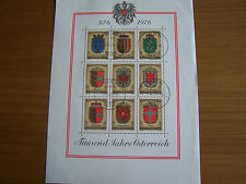 AUSTRIA 1976,PROVINCIAL ARMS M/SHEET,F/USED,EXCELLENT.
