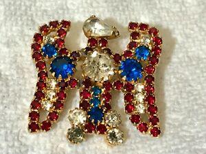 Hobe RARE Red White & Blue Rhinestone Patriotic Eagle Figural Brooch