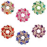 Flower Brooch Rhinestone Crystal Diamante Wedding Bridal Broach Pin Party Brooch