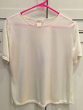 Ladies M Medium Ivory Cream Colored Camisole Short Sleeved Silky Top EUC