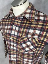 Vintage Plaid Flannel Shirt Permant Press Men Size Medium Hipster USA MADE