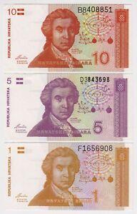 1991 Croatia  Lot 3 UNC Banknotes - Low Start - Paper Money Banknotes