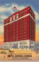 Linen Postcard Hotel Admiral Semmes in Mobile, Alabama~114686