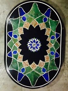 "18""x24"" Marble Inlay Dining Table Top Dining Living Room Decor"