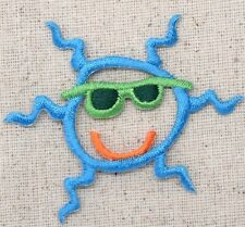 Blue Sun - Sunglasses/Smiling Summer/Beach - Iron on Applique/Embroidered Patch