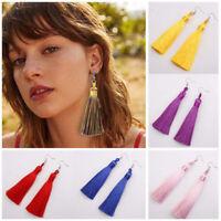 1 Pair Women's Bohemian Style Long Tassel Dangle Fringe Hook Earrings