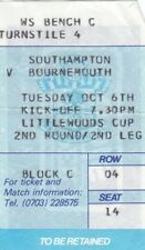 Ticket - Southampton v Bournemouth 06.10.87 League Cup