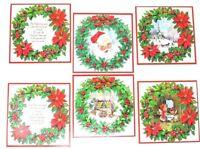 Vintage Christmas Greeting Card Lot Wreath Set of 6 Quality Crest Unused