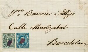 España. Cataluña. History Postal. Over 175, 183. 1876. 10 Cts Blue And 5 Cts Ive