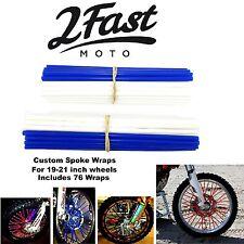 2FastMoto Spoke Wrap Kit Blue White BMX Bicycle Spoked Rim Covers Skins DK Haro