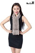 Wekin Earth M real knitted mink fur thin scarf robe neckerchief muffler cape 06
