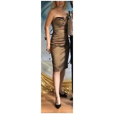 Badgley Mischka Collection Holiday Taffeta Strapless Body on Dress Bronze fit XS