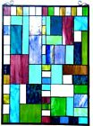 24  H x  Mixed Medium Tiffany Style Stained Glass Window Panel With Chain
