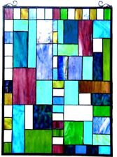 "32"" x 20"" Mixed Medium Tiffany Style Stained Glass Window Panel With Chain"