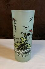 Vintage Pastel Drinking Glass Frosted Lady in Garden Green Turquoise Replacement