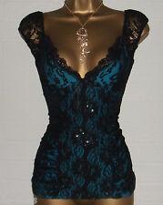 NEW JANE NORMAN Black Lace Electric Blue Burlesque Basque Corset Top Sml Size 8