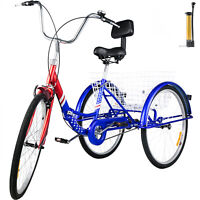 Foldable Tricycle Adult 26'' Wheels Adult Tricycle 1-Speed 3 Wheel Blue Bikes