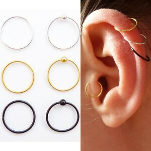 Sterling Silver Cartilage Earring Tragus Nose Ring Eyebrow  Hoop Piercing