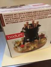 Bodum Fondue Set With 6 Forks And 6 Glass Bowls Made In Denmark