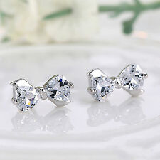 Newly 1Pair Elegant Bow 925 Sterling Silver Rhinestone Ear Stud Earrings Jewelry
