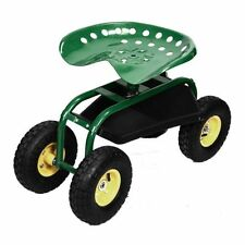 Green Rolling Garden Cart Work Seat With Heavy Duty Tool Tray Gardening Planting