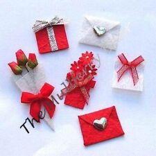 6 Flowers Hearts envelopes Red Valentine Embellishments crafts Card Scrapbooking