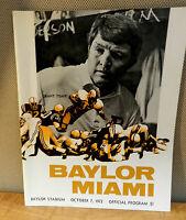2048/ 1972 BAYLOR VS MIAMI NCAA  FOOTBALL GAME PROGRAM  Bears vs Hurricanes