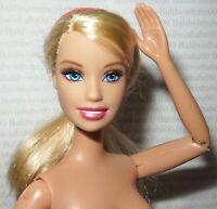 (S-53) ~ NUDE BARBIE BLONDE BLUE EYES ARTICULATED 2005 FACE MATTEL DOLL FOR OOAK