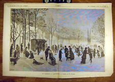 New listing Old Antique Print 1885 Florence Ice-Skating Patinage Saint-Mande French 19th