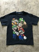 Super Mario Bros Graphic T-Shirt Boys Small Navy Blue with Nintendo Characters.