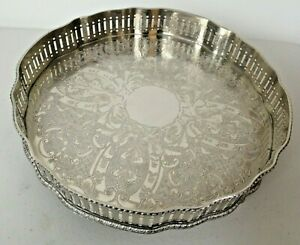 Vintage Sheffield Silver Plate on Copper Gallery Tray (Small - 8 inch diameter)