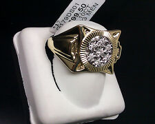 Men's 10k Yellow Gold With Diamonds Square Face With Circular Inner Ring 11 Size