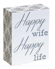 Happy Wife Happy Life Wall Deco Shelf Block Wooden Sign