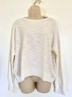NWT Ann Taylor Loft Women's Off White Elliptical Hem Knit Sweater Top XL