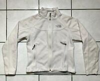 The North Face Womens Windwall Hooded Fleece Jacket Sz SMALL White Zip Pockets