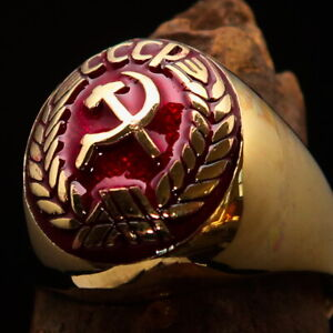 Nicely crafted oval Men's Communist Ring CCCP Hammer and Sickle Crest Red