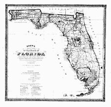 1870 FL MAP Sanibel Island Sarasota Springs Satellite Beach Scott Lake Sebastian