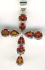"""925 Argento Sterling Granato Croce pendente a 9 originali pietre lunghezza 1.1/2"""" 40 mm"""
