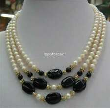 3 Rows White Pearl Black Agate 18kgp Crystal Clasp Necklace