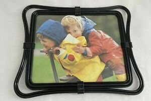 """Vintage 8"""" x 10"""" Photo Frame Plastic with Glass Picture, Black Frame"""