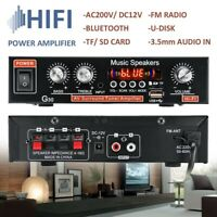 800W Digital Amplifier HIFI bluetooth Stereo Audio AMP SD USB FM Mic Home Car