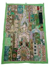 Handmade Indian Vintage Tapestry Embroidered Patchwork Beaded Wall Hanging