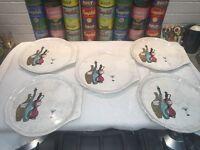 5 mid-century Royal Sealy CAPRI snack plates RARE liquor bottle design version