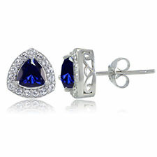 Sterling Silver Created Sapphire & White Topaz Trillion-Cut Stud Earrings