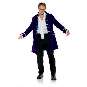 Adult Mens Victorian Vampire Pirate Purple Halloween Costume Coat Velvet Jacket