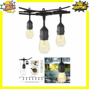 48Ft Outdoor String Lights With 15 Hanging Sockets S14 Edison Bulbs Weatherproof