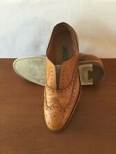 Pre Owned Salvatore Ferragamo Light Brown Tramezza Oxford Wing Tip Slip On 9.5EE
